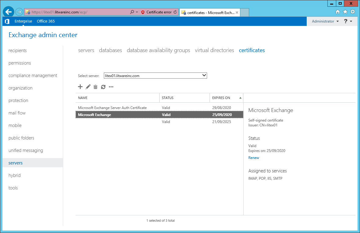 Technical deep dive exchange 2013 install certificate part 1 3 select the correct server from the drop down then click add xflitez Images