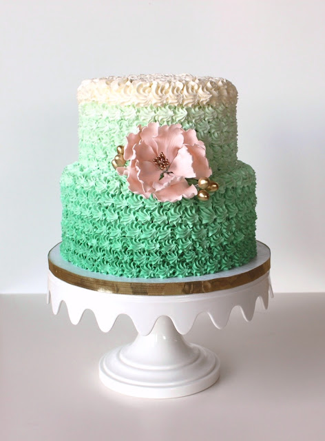 Green Ombre Cake with Pink Sugar Flower Minneapolis Bakery