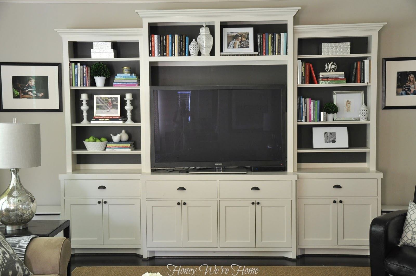 painted media cabinet bookshelf styling daun segar sari