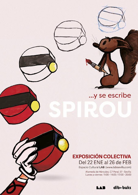 Cartel para la exposición Y Se Escribe Spirou en Sevilla dibbuks, en la que participa RU-MOR