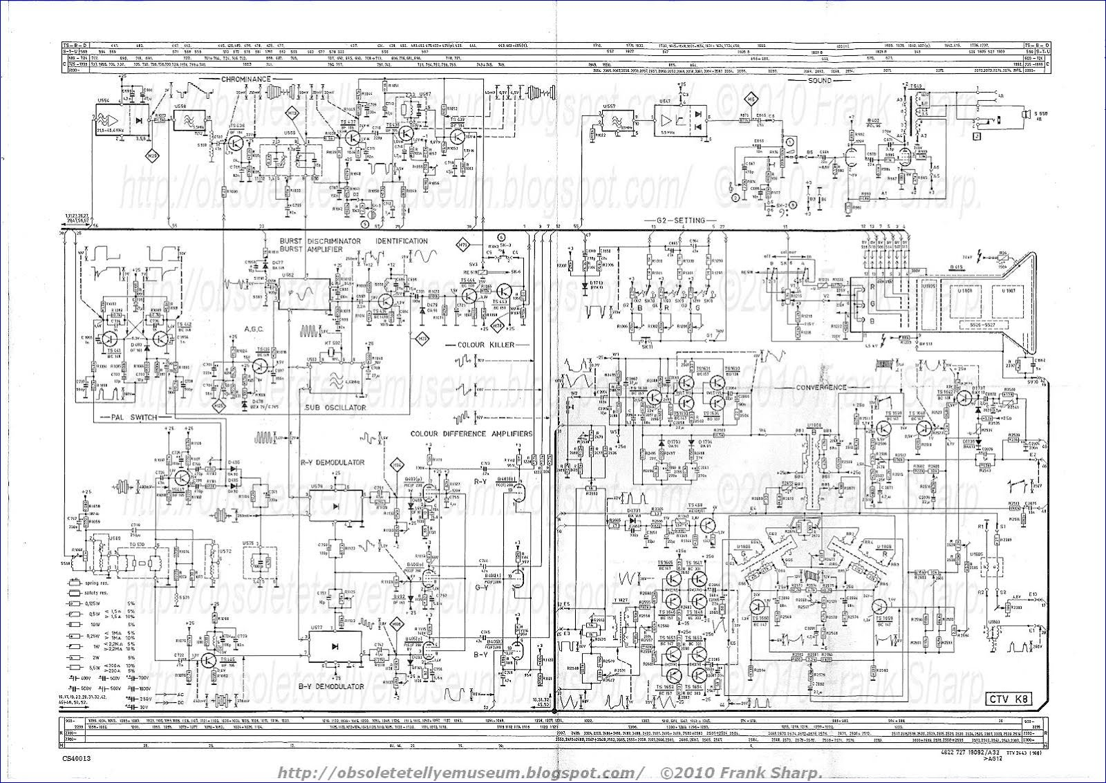 Obsolete Technology Tellye Philips X26k171 Royal Color 110 Giotto 302 188 Wiring Diagram An R Y B Urst Component Also Appears In The Signal Input To Terminal 45 Of Demodulator 40 And Is Subject Phase Synchronous Detection When