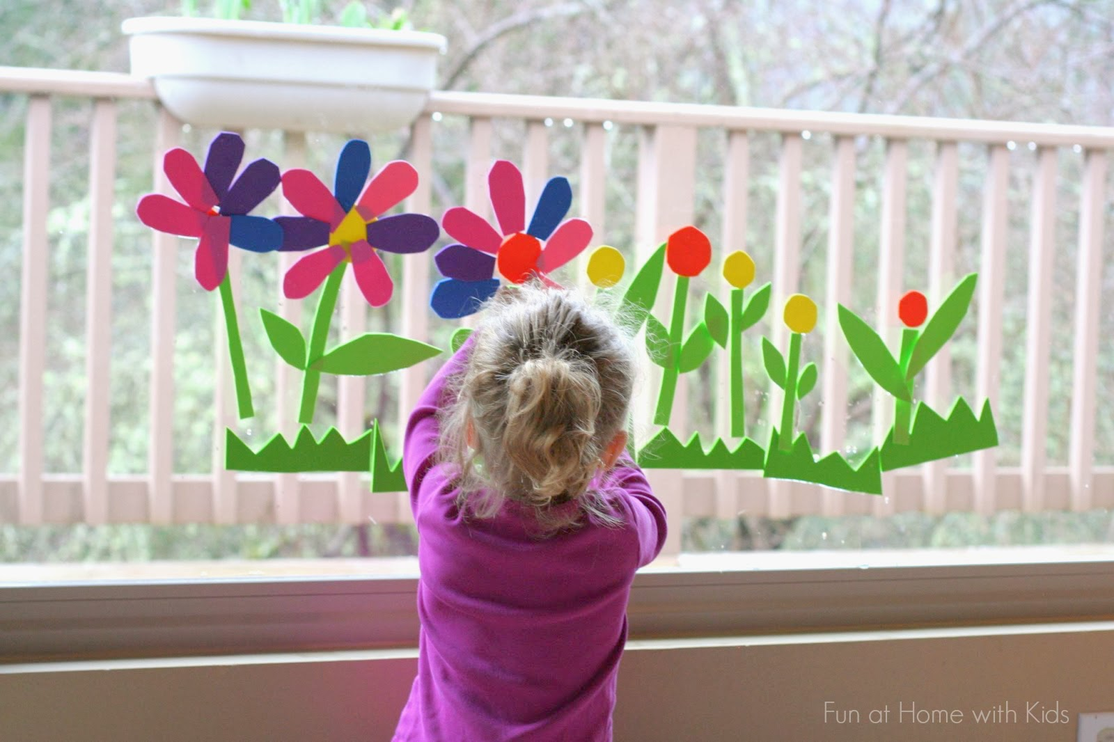 Reusable spring flowers bathwindow art mightylinksfo Choice Image