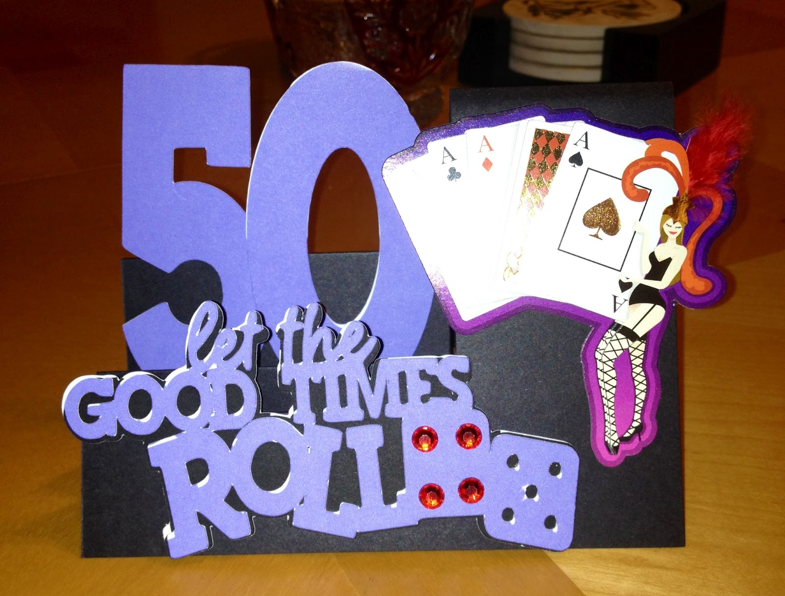 50th birthday party the theme was vegas the middle slot of the card is ...