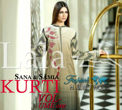Sana & Samia Kurti Collection 2015 Vol-1 By Lala Textile