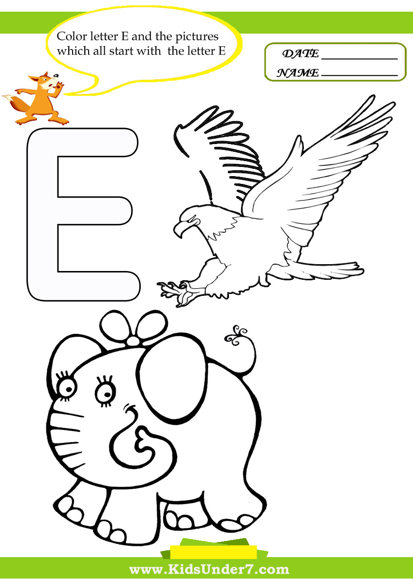 Kids Under 7 Letter E Worksheets and Coloring Pages – Letter E Worksheets for Kindergarten