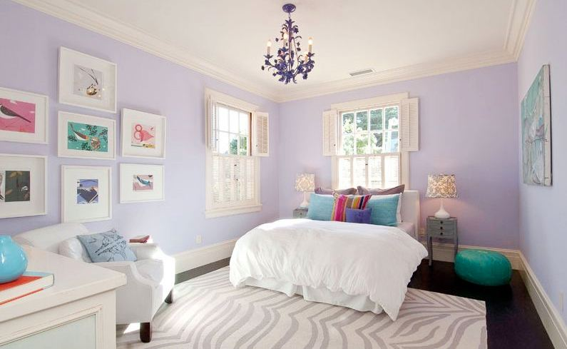 girls bedroom with small chandelier lavender wall grey and white