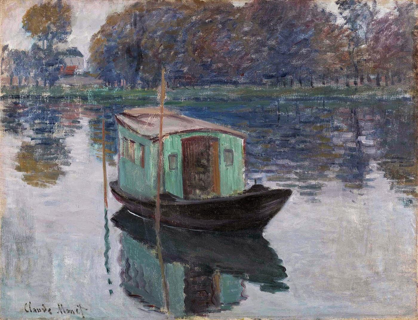 Claude Monet, El barco-taller (1874), Kröller-Mullër Museum, Otterlo