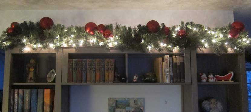 Christmas Lights on the bookshelf