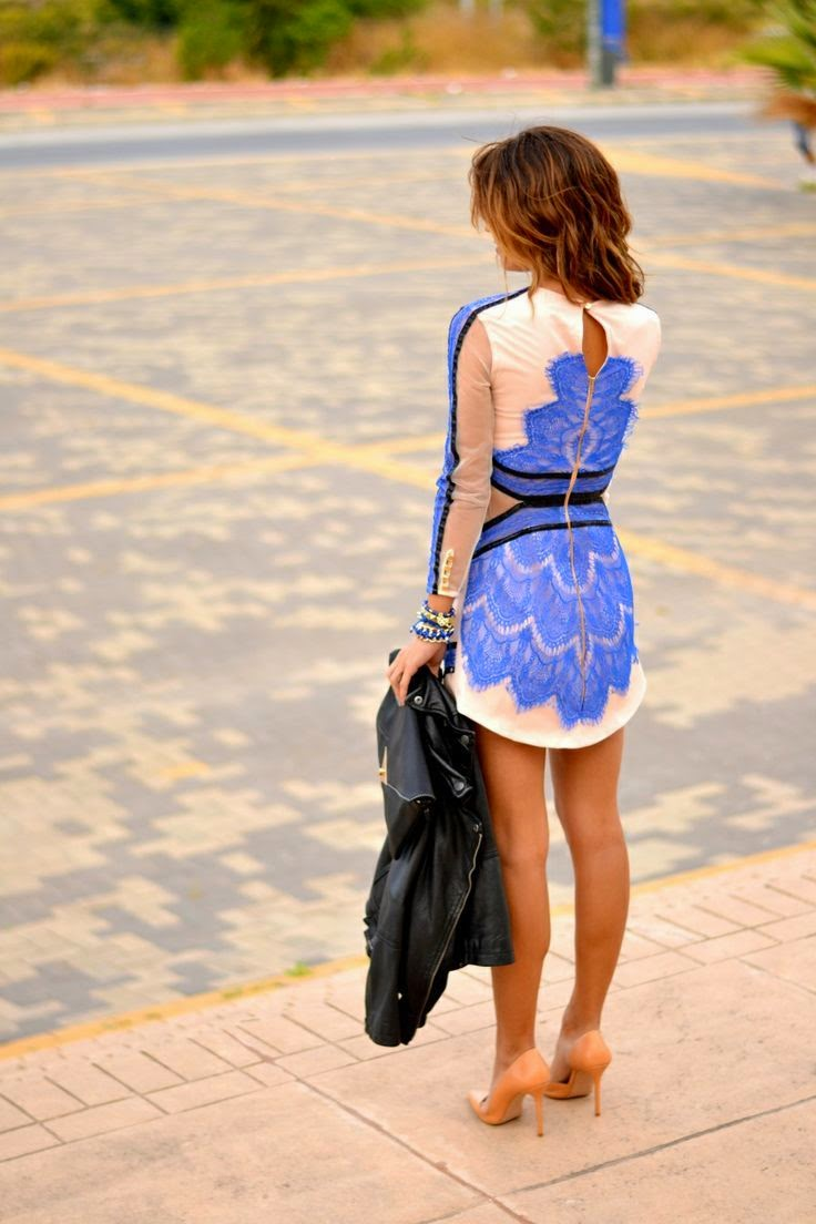 Street Style Blue Lace Cream And Black Dress