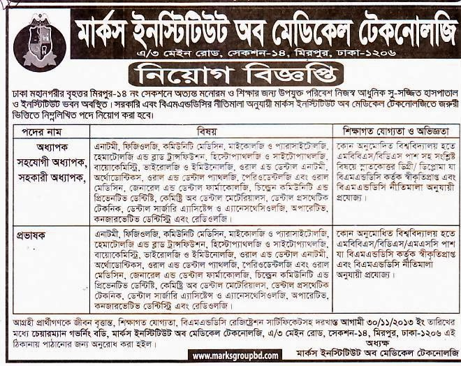 All Newspaper Jobs Marks Institute Of Medical Technology Position