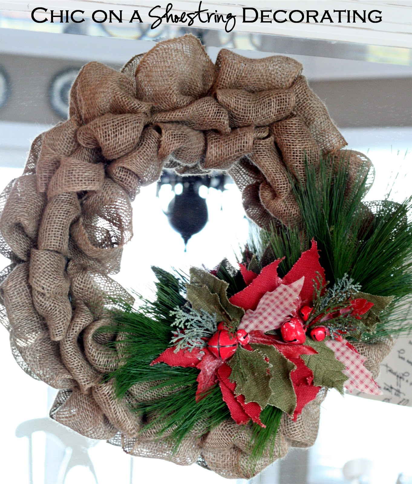 Chic on a shoestring decorating burlap christmas wreath Christmas wreath decorations