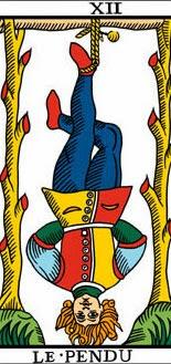 Carta de el colgado en el Tarot