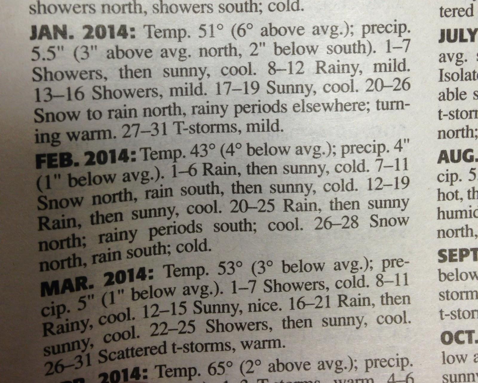 Old Farmer's Almanac 2014