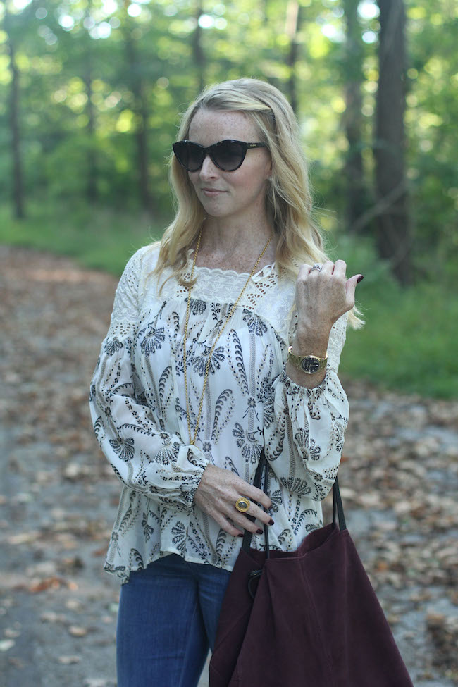 anthro peasant top, julie vos coin necklace