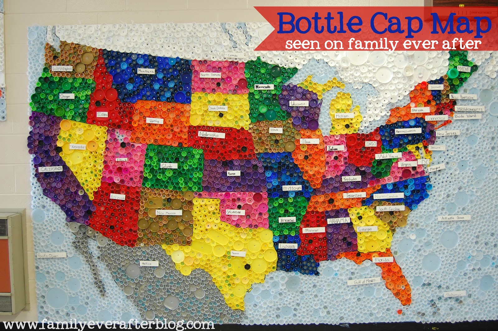 Family Ever After Upcycled Bottle Cap Map Of USA - Us beer cap map