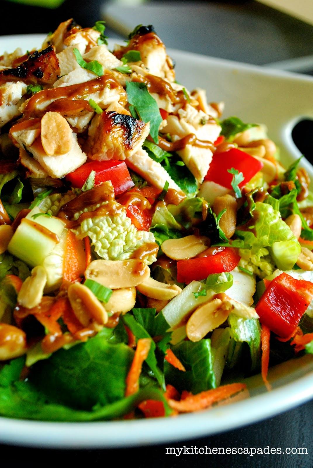 Healthy Thai Chicken Salad With Spicy Thai Peanut Sauce
