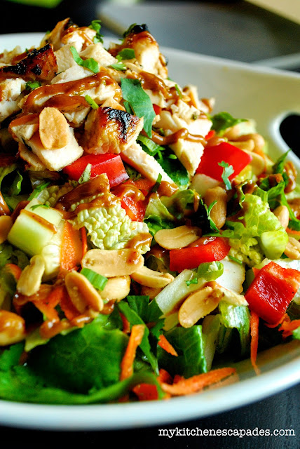 Thai Chicken Salad with Spicy Thai Peanut Sauce Recipe