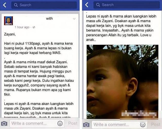 status facebook bekas pekerja MAS