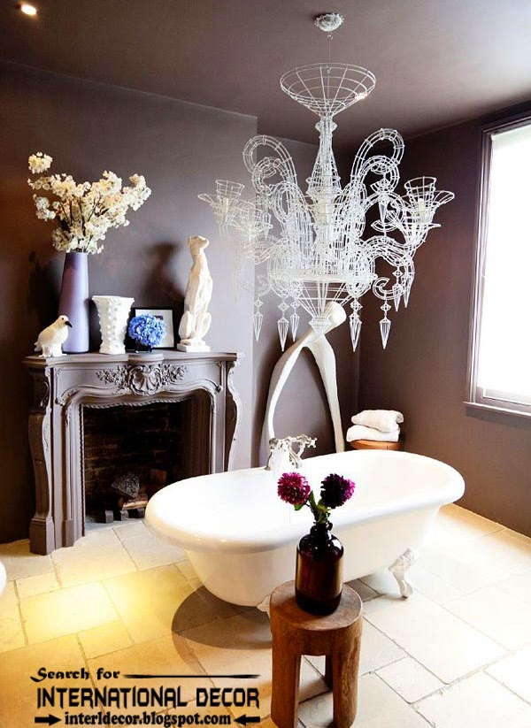Cozy Interior bathroom with fireplace designs ideas, purple bathroom