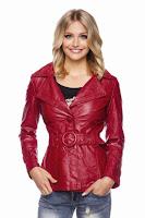 Jacheta moderna, de culoare rosie, din piele ecologica ( )