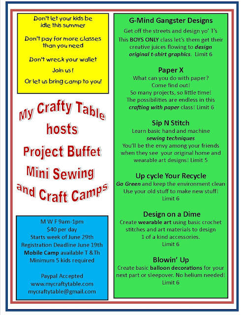 Project Buffet Sewing and Craft Camp