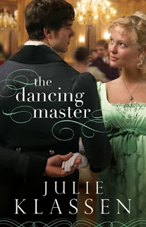 cover of The Dancing Master by Julie Klassen shows a couple dancing