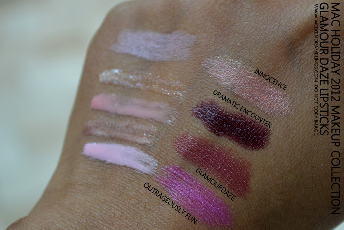 MAC Holiday 2012 Makeup Collection Glamour Daze Lipstick Swatches Outrageously Fun Glamour Daze Dramatic Encounter Innocence Indian Beauty Blog Swatches Darker Skin