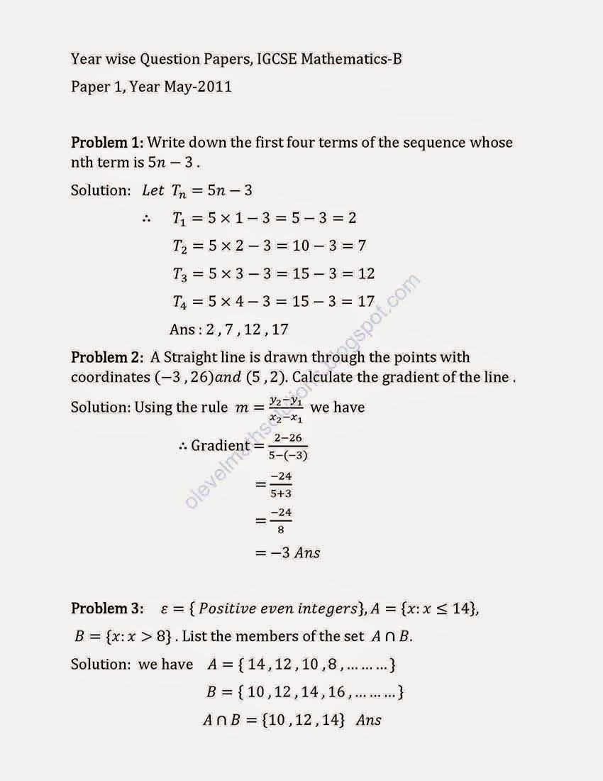 GCE 'O' Level / 'A' Level Past Year Papers Answers & Suggested Solutions