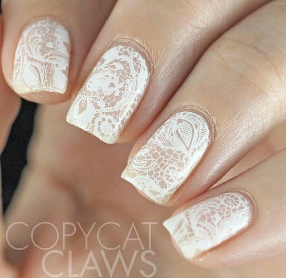 Awesome Lace Wedding Manicure Ideas