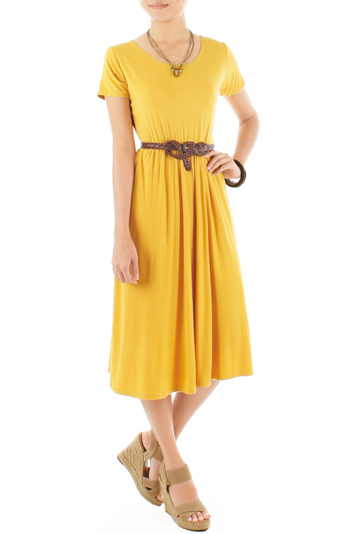 Prudence Midi Skater Dress – Dandelion Yellow