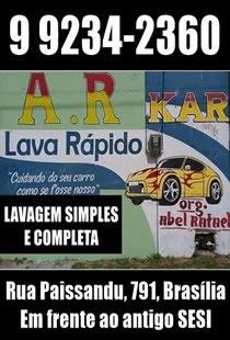 LAVA RÁPIDO A.R. KAR = LAVAGEM SIMPLES E COMPLETA