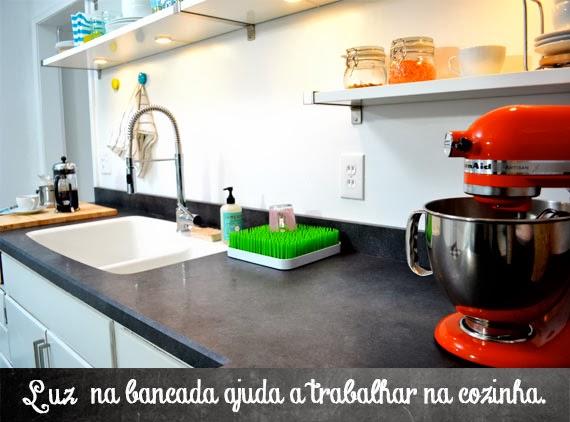 antes e depois da cozinha - reforma na cozinha - aprender a decorar - luz na bancada