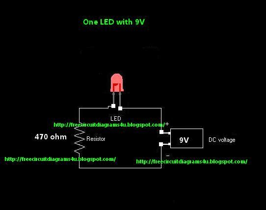 free circuit diagrams 4u one led with 9v power rh freecircuitdiagrams4u blogspot com LED Light Fixture Wiring Diagram LED Light Fixture Wiring Diagram