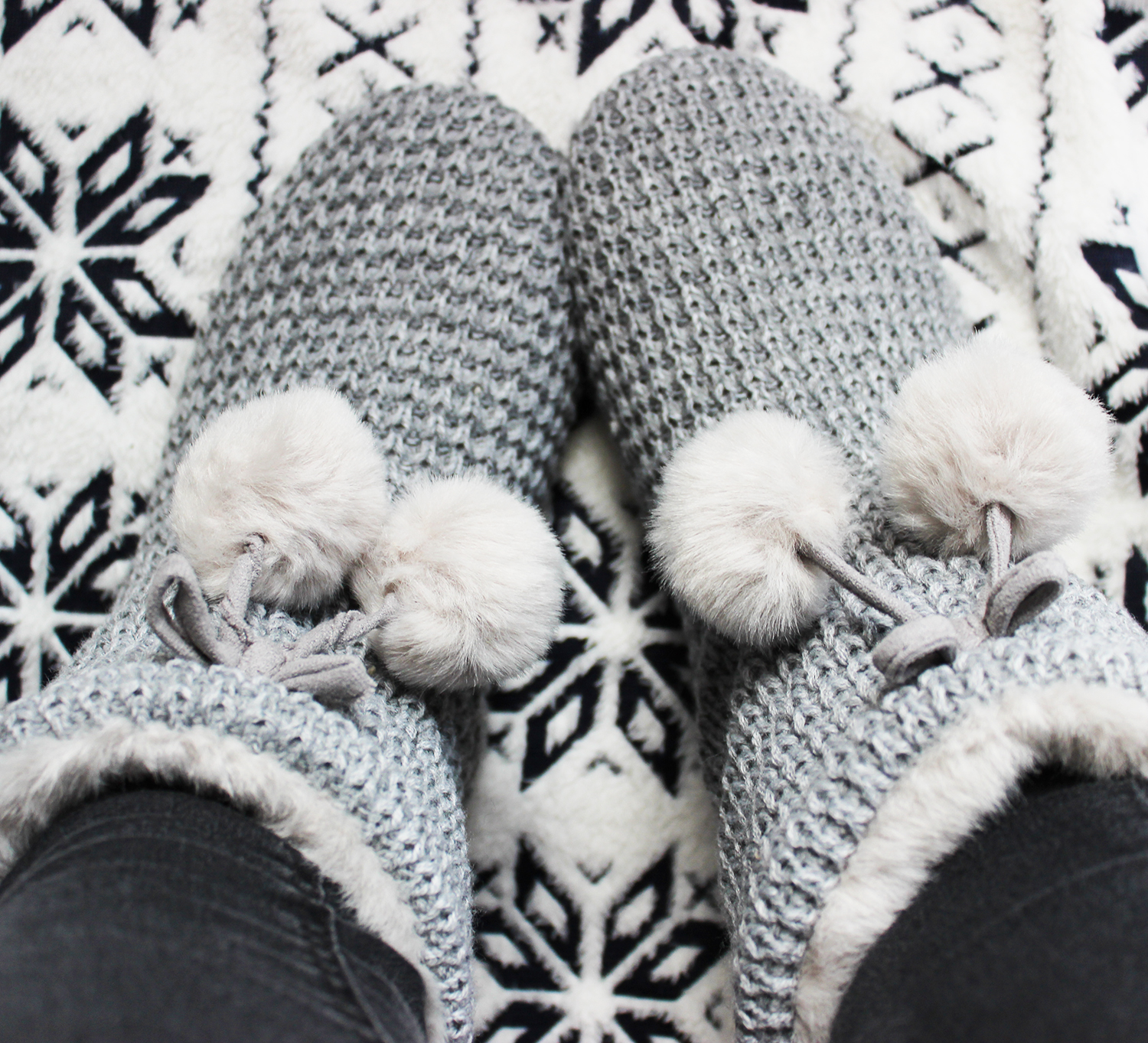 Cosy night in - White Company Pom Pom boots