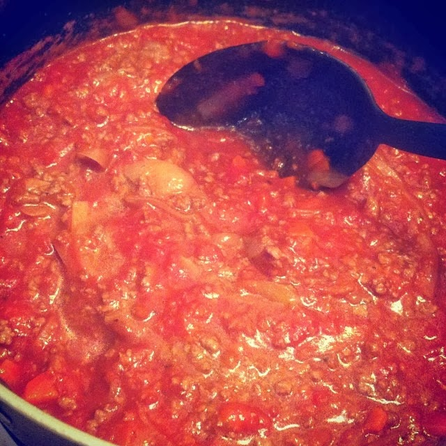 Meat Sauce Simmering for a #WeekdaySupper. Cooking Chat recipe.