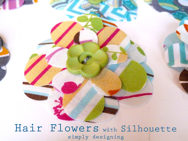 Layered Fabric Hair Flower using a Silhouette - #silhouette #spon #hairbows #craft