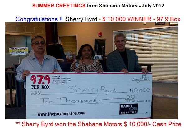 winner of shabana motors 10k giveaway sherry byrd