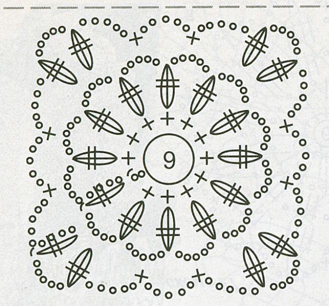 Схемы для вязания крючком квадратный мотив 630