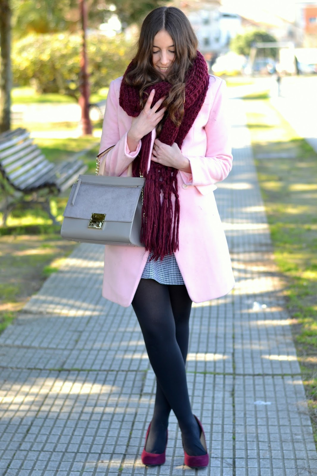 outfits pink coat