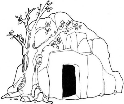 jesus risen empty tomb of jesus coloring pages
