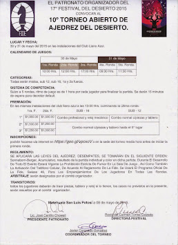 10º TORNEO ABIERTO DE AJEDREZ DEL DESIERTO 2015. CIUDAD DE MATEHUALA, SAN LUIS POTOSÍ.