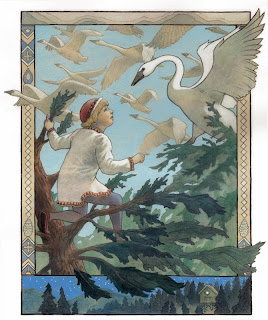 The Witch, Russian Fairy Tale, Swans, Russian fairy tale illustration