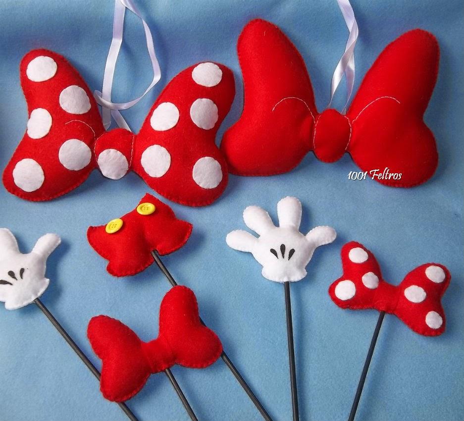 1001 Feltros: Decoração Mickey e Minnie Mouse