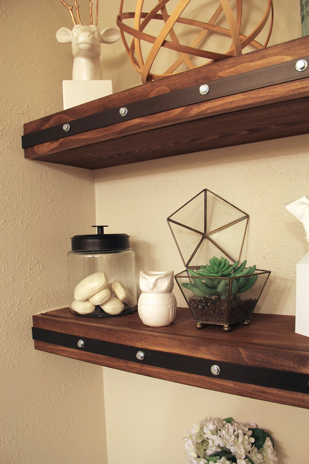 Floating Wood Shelves ~ Diy floating shelves with faux rivets