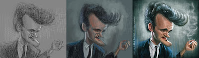 "Proceso caricatura ""Quentin Tarantino"" por Sasa Kunic"
