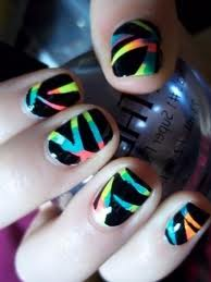 Black Nail Art with Colorful Stripes