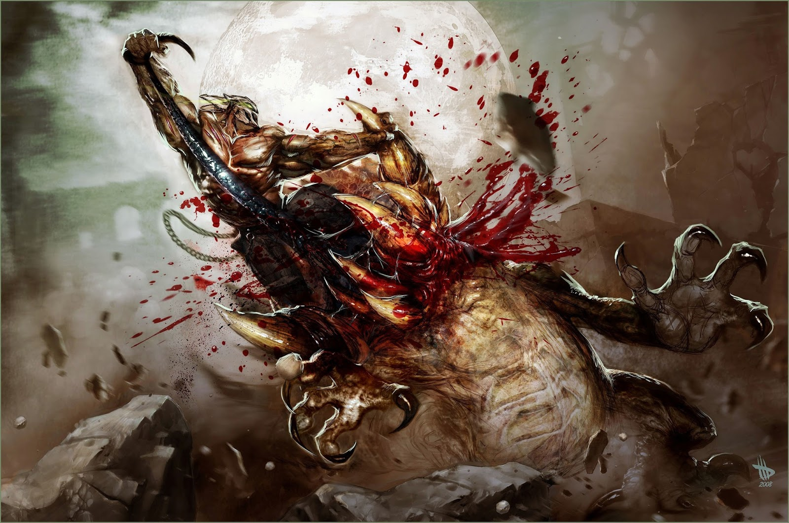 Epic Fight Monster Warrior Blood Full Moon Fantasy Hd Wallpaper Desktop Pc A76