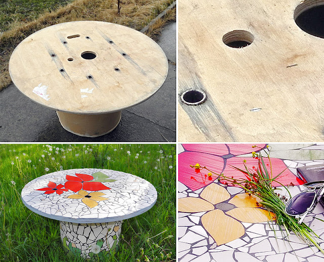 mozaika artystyczna - stolik ogrodowy