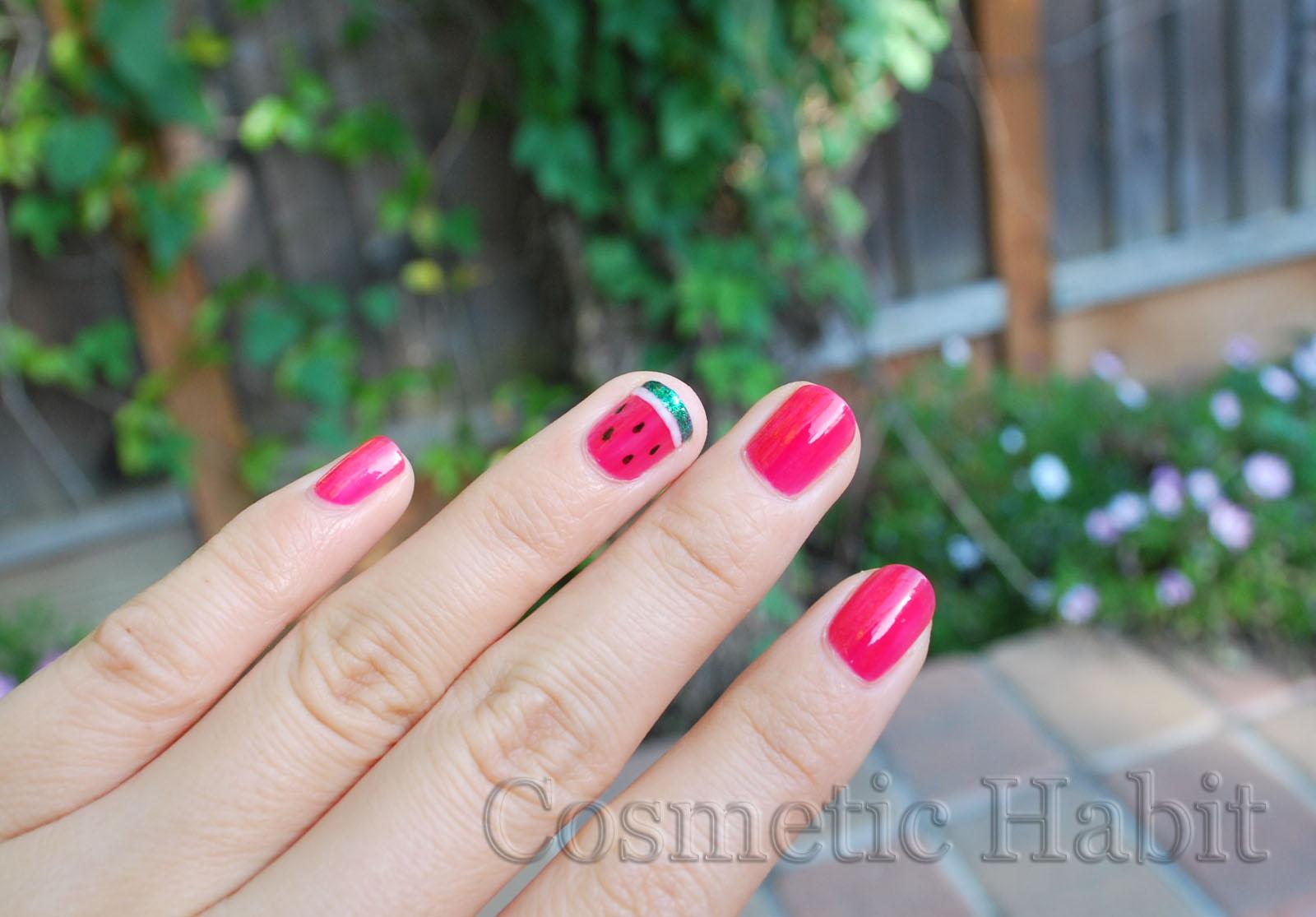 Cosmetic Habit: Watermelon Nail Art Design: Photos, Swatches