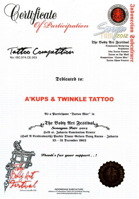 INDONESIAN SUBCULTURE Tattoo War Festival 2012 Certificate.